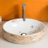 手洗い鉢 洗面ボウル 手洗器 洗面ボール 洗面台 陶器 大理石風合い 排水栓&排水トラップ付 48cm