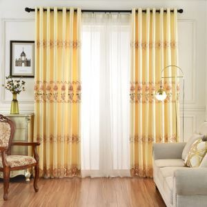 遮光カーテン オーダーカーテン 黄色 水仙花柄 オシャレ 刺繍 3級遮熱カーテン(1枚)