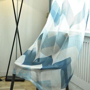 レースカーテン オーダーカーテン シアーカーテン 捺染 波柄 北欧風(1枚)