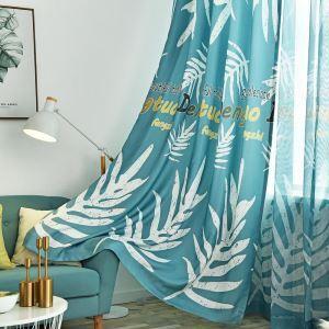 遮光カーテン オーダーカーテン 捺染 バショウ葉柄 北欧風 オシャレ 3級遮熱カーテン(1枚)