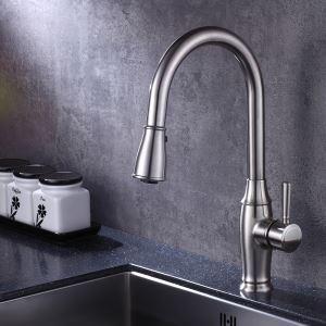 キッチン水栓 台所蛇口 引出し式水栓 冷熱混合栓 水道蛇口 整流&シャワー吐水式 ヘアライン