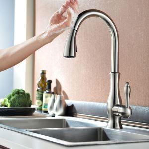 タッチスイッチ水栓 台所蛇口 引出し式水栓 キッチン水栓 冷熱混合栓 整流&シャワー吐水式 ヘアライン