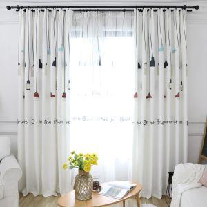 遮光カーテン オーダーカーテン 捺染 照明柄 白色 北欧風 オシャレ 3級遮熱カーテン(1枚)