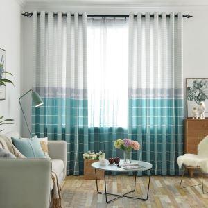 遮光カーテン オーダーカーテン 捺染 格子柄 リビング オシャレ 3級遮熱カーテン(1枚)