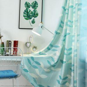 遮光カーテン オーダーカーテン 子供屋 リビング 捺染 葉柄 オシャレ 3級遮熱カーテン(1枚)