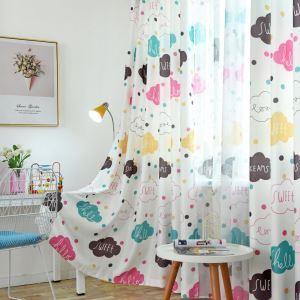 遮光カーテン オーダーカーテン 子供屋 捺染 雲柄 オシャレ 3級遮熱カーテン(1枚)