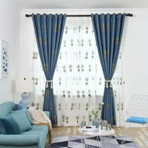 遮光カーテン オーダーカーテン 子供屋 刺繍 松かさ柄 青色 オシャレ 1級遮熱カーテン(1枚)