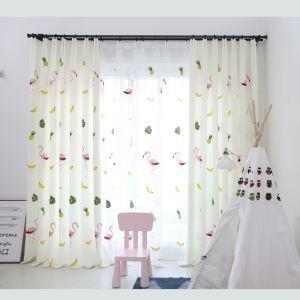 遮光カーテン オーダーカーテン 子供屋 捺染 フラミンゴ柄 北欧風 オシャレ 3級遮熱カーテン(1枚)