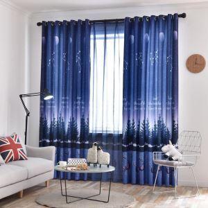 遮光カーテン オーダーカーテン 子供屋 寝室 捺染 星空柄 北欧風 オシャレ 3級遮熱カーテン(1枚)