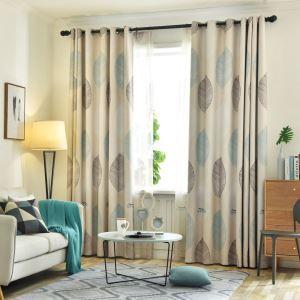 遮光カーテン オーダーカーテン リビング 寝室 捺染 紅葉柄 北欧風 オシャレ 1級遮熱カーテン(1枚)