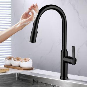 タッチスイッチ水栓 キッチン水栓 台所蛇口 引出し式水栓 冷熱混合栓 整流&シャワー吐水式 4色