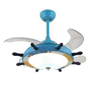 LEDシーリングファンライト リビング照明 ダイニング照明 照明器具 天井照明 3階段調色 LED対応 リモコン付 舵型 QM8077