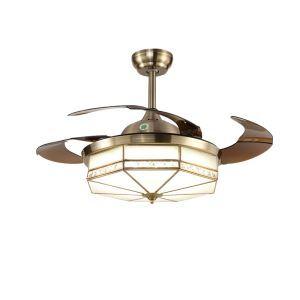 LEDシーリングファンライト リビング照明 ダイニング照明 照明器具 天井照明 3階段調色 LED対応 リモコン付 QM8017