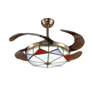 LEDシーリングファンライト リビング照明 ダイニング照明 照明器具 天井照明 3階段調色 LED対応 リモコン付 QM8082