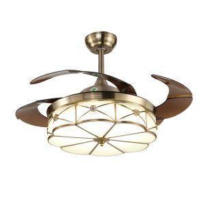 LEDシーリングファンライト リビング照明 ダイニング照明 照明器具 天井照明 3階段調色 LED対応 リモコン付 QM8083