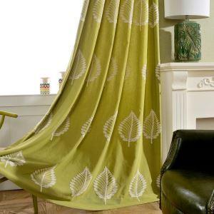 遮光カーテン オーダーカーテン 刺繍 バショウ葉柄 リビング オシャレ 3級遮熱カーテン(1枚)