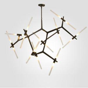 LEDシャンデリア リビング照明 ダイニング照明 寝室照明 枝型 北欧風 黒金色 LED対応