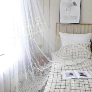 レースカーテン オーダーカーテン シアーカーテン刺繍 白色 リビング 寝室 子供屋 北欧風(1枚)