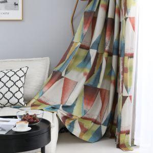遮光カーテン オーダーカーテン 捺染 三角形柄 赤 子供屋 北欧風 オシャレ(1枚)