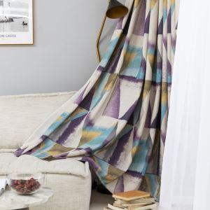 遮光カーテン オーダーカーテン 捺染 三角形柄 紫 子供屋 北欧風 オシャレ 3級遮光カーテン(1枚)