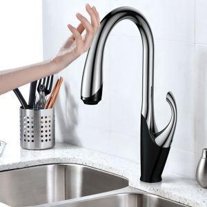 タッチスイッチ水栓 台所蛇口 引出し式水栓 キッチン水栓 冷熱混合栓 整流&シャワー吐水式 クロム