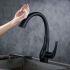 タッチスイッチ水栓 台所蛇口 引出し式水栓 キッチン水栓 冷熱混合栓 整流&シャワー吐水式 黒色