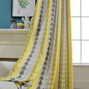 遮光カーテン オーダーカーテン ジャカード 三角形柄 リビング 寝室 北欧風(1枚)