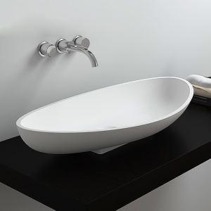 洗面ボール 手洗い鉢 洗面器 洗面ボウル 人造石 排水栓&排水トラップ付 元宝型 置き型 オシャレ 70*34*12.5cm M8322