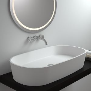 洗面ボール 手洗い鉢 洗面器 洗面ボウル 人造石 排水栓&排水トラップ付 楕円型 置き型 オシャレ 80*39*14.4cm M8307