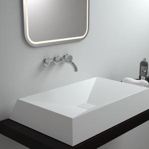 洗面ボール 手洗い鉢 洗面器 洗面ボウル 人造石 排水栓&排水トラップ付 角型 置き型 オシャレ 70*45*10cm M8308