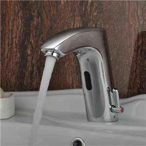 センサー水栓 自動水栓 洗面蛇口 レバー付き冷熱混合栓
