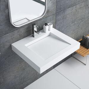洗面ボール 手洗い鉢 洗面器 洗面ボウル 人造石 排水トラップ付 角型 置き型 オシャレ 60*50*8cm M8409