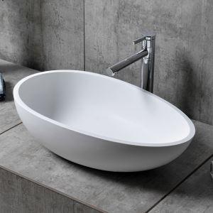 洗面ボール 手洗い鉢 洗面器 洗面ボウル 人造石 排水栓&排水トラップ付 玉子型 置き型 オシャレ 61*44*16cm M8301