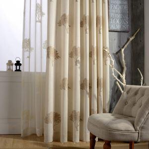 遮光カーテン オーダーカーテン 刺繍 木柄 リビング 寝室 北欧風 オシャレ(1枚)