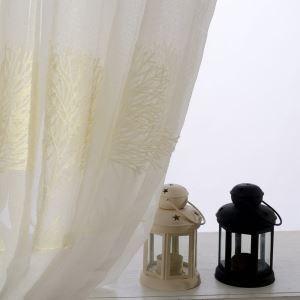 レースカーテン オーダーカーテン シアーカーテン刺繍 木柄 白色 リビング 寝室 北欧風(1枚)