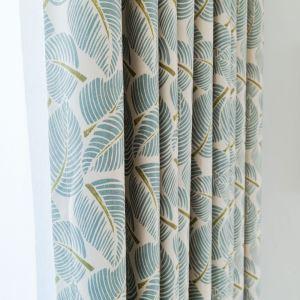 遮光カーテン オーダーカーテン 捺染 葉柄 リビング 寝室 北欧風 オシャレ(1枚)