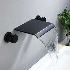 壁付蛇口 バス水栓 洗面蛇口 冷熱混合栓 浴槽水栓 水道蛇口 滝状吐水口 2ハンドル ヘアライン/ORB