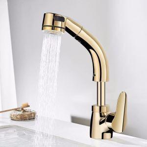 洗面蛇口 スプレー混合栓 洗髪用水栓 ホース引出式 水道蛇口 吐水口昇降 整流&シャワー吐水式 金色