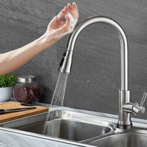 タッチスイッチ水栓 キッチン蛇口 台所水栓 引出し式水栓 冷熱混合栓 整流&シャワー吐水式 ヘアライン
