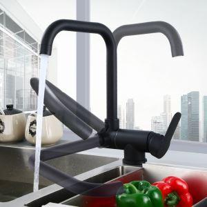 キッチン水栓 台所蛇口 冷熱混合栓 水道蛇口 7字型 回転可能 黒色