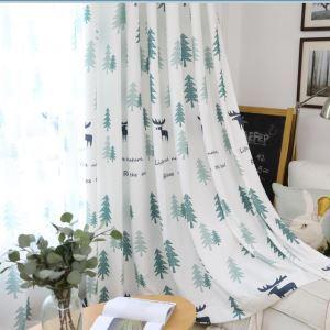 遮光カーテン オーダーカーテン 捺染 木&鹿柄 子供屋 北欧風 オシャレ 3級遮熱カーテン(1枚)