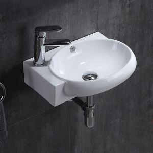 壁掛洗面ボール 手洗い鉢 洗面器 陶器 壁付 排水栓&排水トラップ付 三角型 蛇口穴付 和風 43*29cm