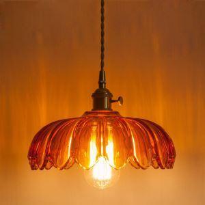 ペンダントライト 照明器具 リビング ダイニング 寝室 書斎 玄関 廊下 店舗 ガラス 6畳8畳 洋風 カボチャ型 つまみスイッチ付 1灯 LZ91