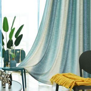 遮光カーテン オーダーカーテン 捺染 グラデーション柄 青 寝室 リビング 北欧風 オシャレ(1枚)