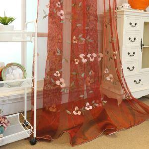 シアーカーテン オーダーカーテン レースカーテン 刺繍 植物柄 赤色 リビング 寝室 豪華(1枚)