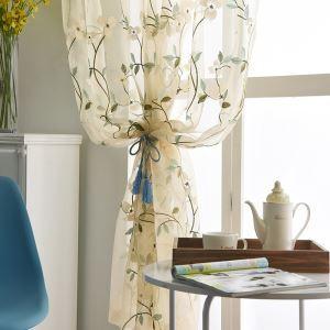 シアーカーテン オーダーカーテン レースカーテン 刺繍 植物柄 白色 リビング 寝室 田園風(1枚)
