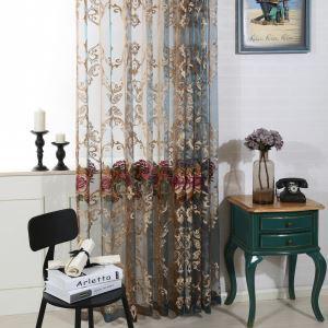 シアーカーテン オーダーカーテン レースカーテン 刺繍 花柄 リビング 寝室 豪華 北欧風(1枚)
