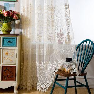 シアーカーテン オーダーカーテン レースカーテン 刺繍 花柄 リビング 豪華 北欧風(1枚)