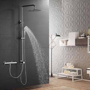 浴室シャワー水栓 レインシャワーシステム サーモスタット付 ヘッドシャワー+ハンドシャワー バス水栓 混合栓 クロム