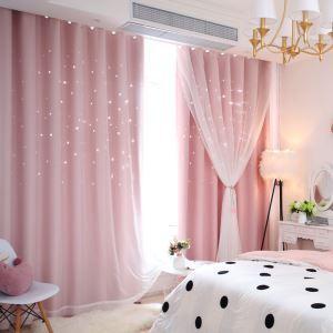 遮光カーテン カーテンレースセット シアーカーテン付 透かし彫り 星 寝室 リビング 姫系(1枚)